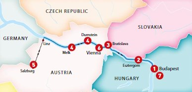 Blue Danube Itinerary Map